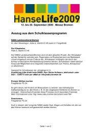 Auszug aus dem Schulklassenprogramm - HanseLife