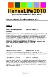 Auszug aus dem Schulklassenprogramm Halle 3 Halle 4 - HanseLife
