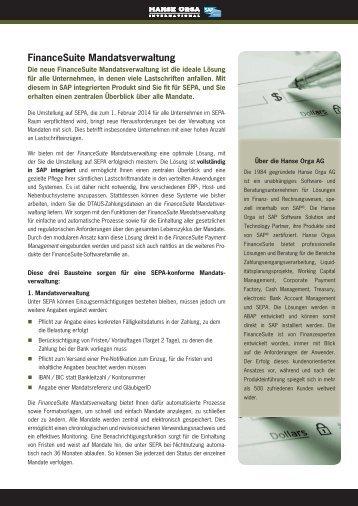 FinanceSuite Mandatsverwaltung - Hanse Orga AG