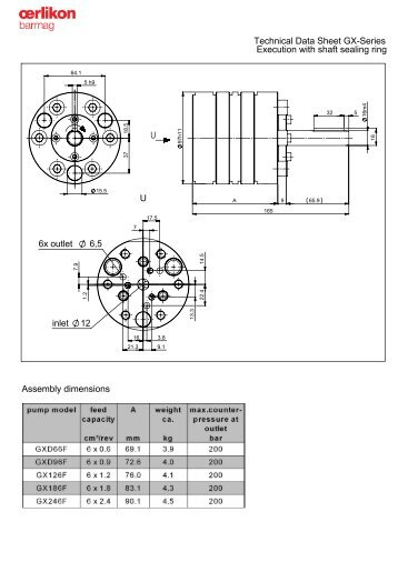 6x outlet 6,5 inlet 12 U Technical Data Sheet GX ... - Oerlikon Barmag