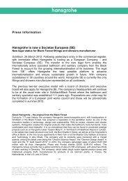 Press Information Hansgrohe is now a Societas Europaea (SE)