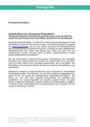 finden Sie die komplette Presseinformation. (PDF, 0,2 ... - Hansgrohe