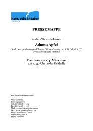 PRESSEMAPPE Adams Äpfel - Hans Otto Theater