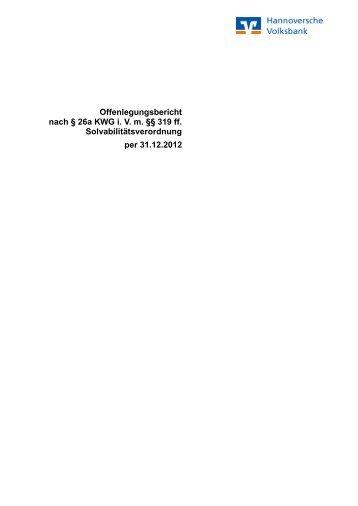 per 31.12.2012 - Hannoversche Volksbank eG