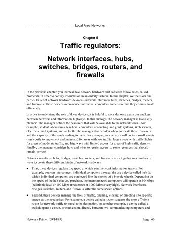 Network interfaces, hubs, switches, bridges, routers, and firewalls