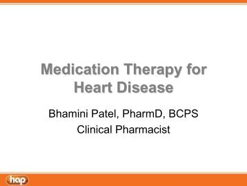 Medication Therapy for Heart Disease - Hap.org