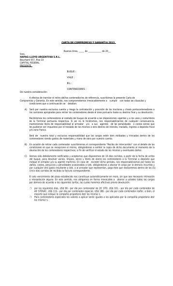 Carta de Garantia por embarque 2013 - Hapag-Lloyd