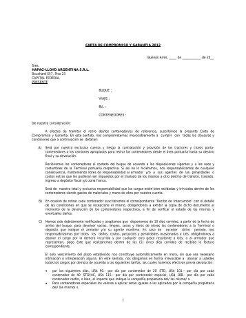 CARTA DE COMPROMISO Y GARANTIA 2012 ... - Hapag-Lloyd