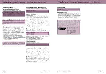 Verzekeringen Prijzen geldig van 1 november 2012 t/m ... - Hapimag