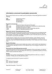 Informations concernant la participation personnelle - Hapimag