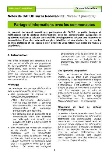 Partage d'informations avec les communautés - HAP International