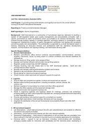 JOB DESCRIPTION Job Title: Administration ... - HAP International
