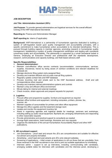 JOB DESCRIPTION Job Title: Administration ... - HAP International