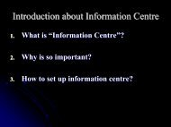 Introduction about Information Centre - HAP International