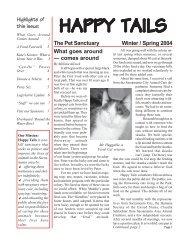 Winter / Spring 2004 - Happy Tails - Pet Sanctuary