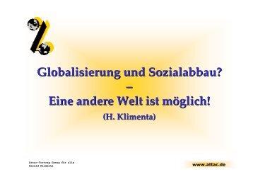 Globalisierung und Sozialabbau? - von Harald Klimenta