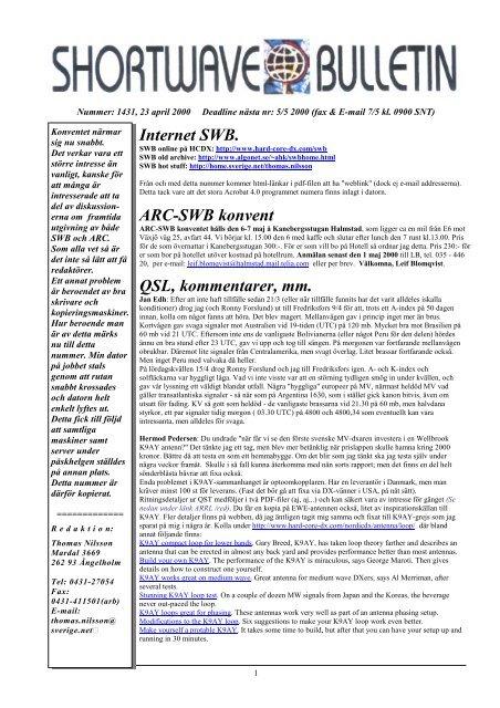 Internet Swb Arc Swb Konvent Qsl Kommentarer Mm