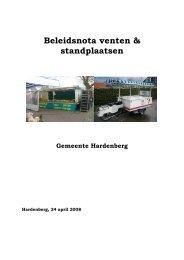 Beleidsnota venten & standplaatsen - Gemeente Hardenberg