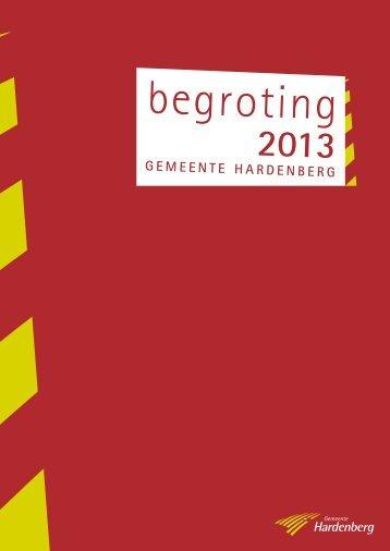 Begroting 2013 - Gemeente Hardenberg