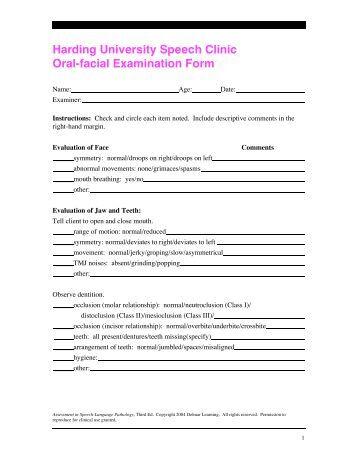 Oral Peripheral Examination Form 69