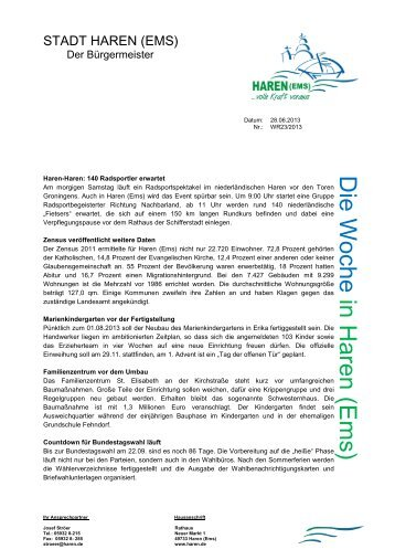 Nr. 23-2013 Zensus veröffentlicht weitere Daten - Stadt Haren