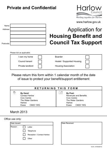 Application for Housing benefit and Council Tax ... - Harlow Council