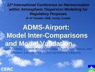 CERC ADMS-Airport: Model Inter-Comparisons and Model Validation