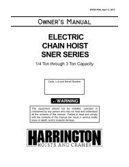 Owner's Manual ELECTRIC CHAIN HOIST SNER SERIES