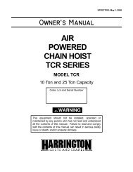 Owner's Manual - Harrington Hoists and Cranes