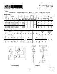 EDII Electric Chain Hoist Model ED2B Specifications and Dimensions