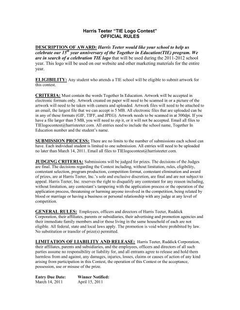 Harris Teeter Tie Logo Contest Official Rules Description