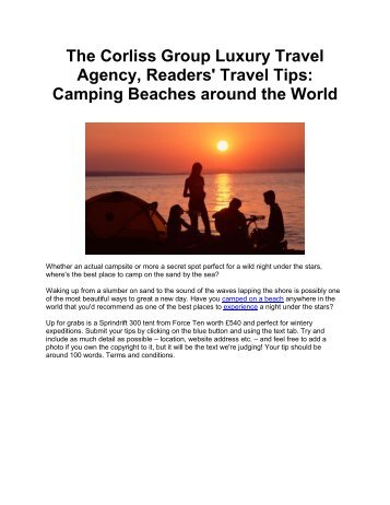 The Corliss Group Luxury Travel Agency, Readers' Travel Tips: Camping Beaches around the World