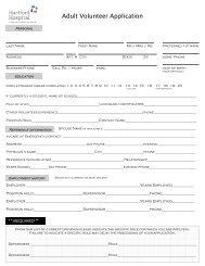 Adult Volunteer Application - Hartford Hospital!