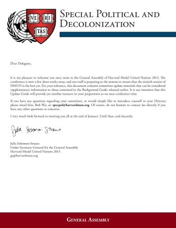 Special Political and Decolonization - Harvard Model United Nations
