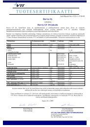 Sertifikaatti Nro VTT-C-3710-09 - Harvia