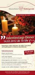 Valentinstags-Dinner - Hochzeit im Harz