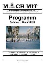 1. Januar ? 30. Juni 2013 - Harzklub Zweigverein Hannover e. V.
