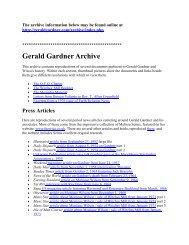 Gerald Gardner Archive