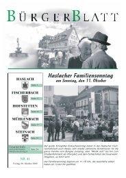 Haslacher Familiensonntag am Sonntag, den 11. Oktober
