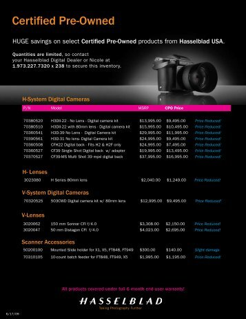 Certified Pre-Owned - Hasselblad