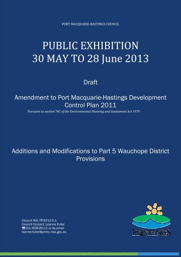 Draft Area Based Provisions for Wauchope - Hastings Council