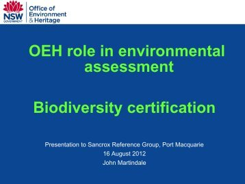 OEH Bio-certification presentation - Hastings Council