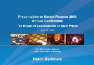 Presentation: The Impact of Consolidation on Steel Prices ... - Hatch
