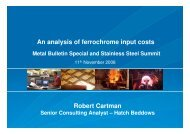 Presentation: An analysis of ferrochrome input costs [pdf ... - Hatch