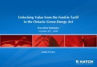 Unlocking Value from the Feed-in Tariff in the Ontario Green ... - Hatch
