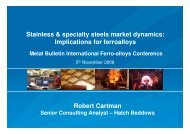 Presentation: Stainless & specialty steels market dynamics ... - Hatch