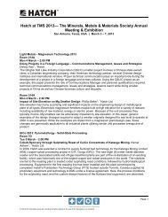 Hatch at TMS 2013— The Minerals, Metals & Materials Society ...