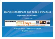 World steel demand and supply dynamics - Implications for ... - Hatch