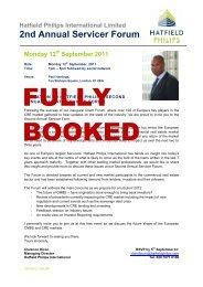 Invitation - HPI Client Servicer Forum 2011 - 12th ... - Hatfield ...