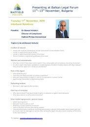 Stewart Hotston Presenting at Balkan Legal Forum 11-13 Nov 2010 ...